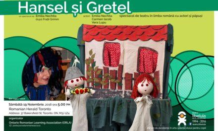 Teatrul de papusi Libelula prezinta spectacolul Hansel si Gretel